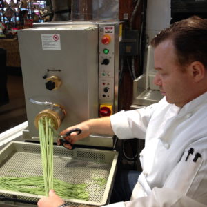 Loris making fresh spinach linguine